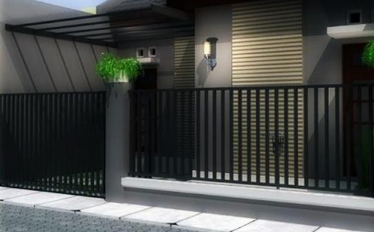 Gambar Pagar Dengan Pilihan Warna Hitam Dan Abu Abu | Desain Eksterior  Rumah, Dekorasi Minimalis, Rumah Minimalis