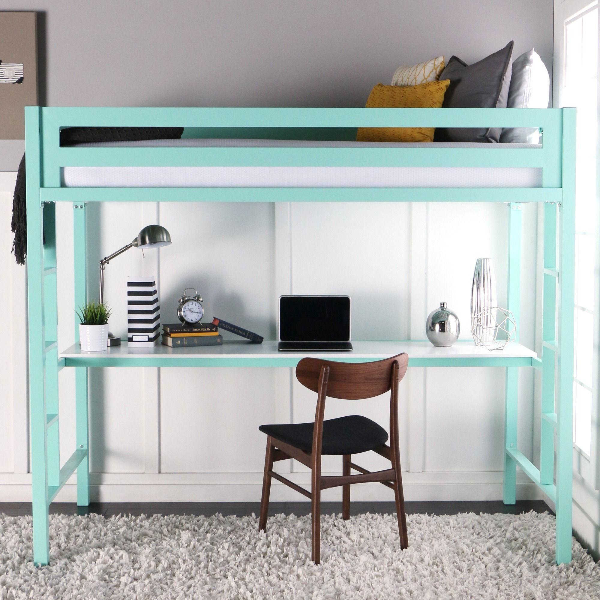 Gentil Glossy Mint Steel Twin Loft Bed With Desk (Twin Metal Loft Bed With  Workstation   Mint), Green