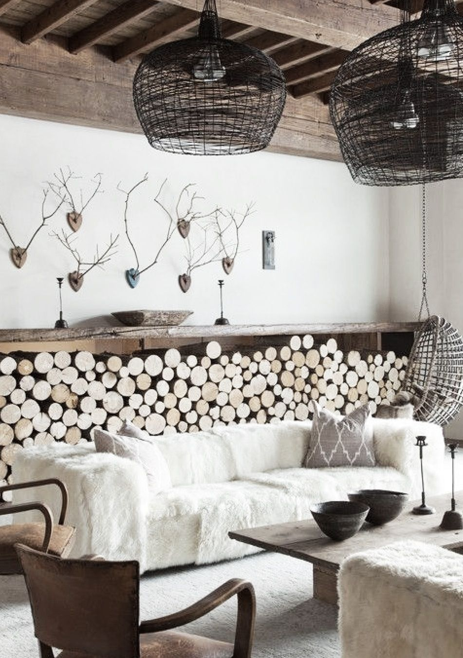 love the basket lighting and the log storage. great room   HOME ...