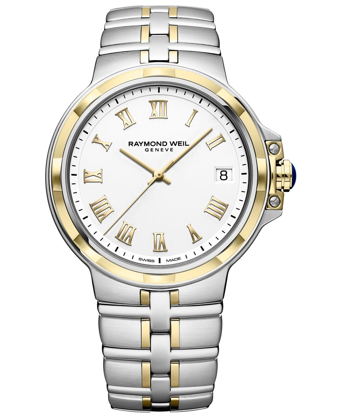 Gold-tone Roman numerals elevate the handsome dial of this two-tone stainless steel Swiss bracelet watch from Raymond Weil's streamlined Parsifal collection. Style #5580-stp-00308