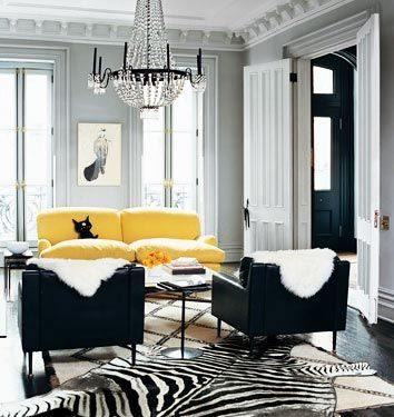 Living Room Yellow Couch Zebra Print Rug Black Chairs