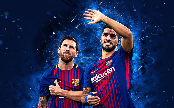 Download wallpapers Messi and Suarez, 4k, football stars