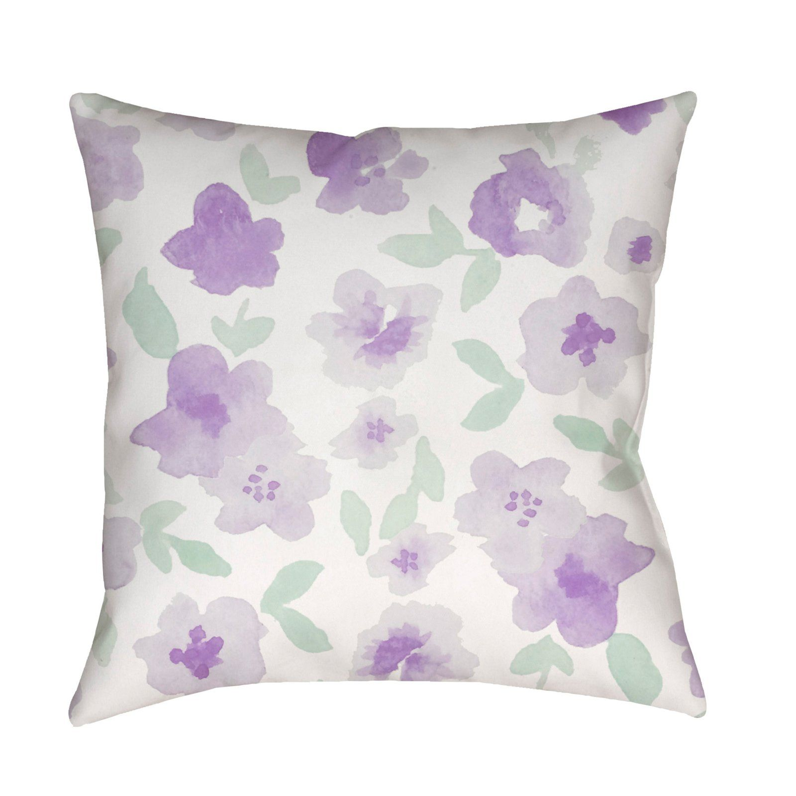 Surya Flowers Watercolor Outdoor Pillow Purple / White