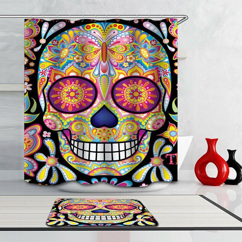 Colorful Skull Fabricwaterproof Shower Curtain Bathroom Decor Bath Curtain Hooks Bathroom D Skull Shower Curtain Bathroom Shower Curtains Mermaid Wall Decals