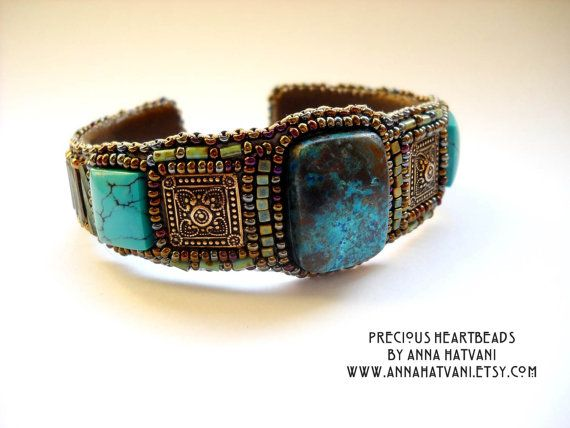 SALE  Bead Embroidery Bracelet  USD 817 Bead by PreciousHeartBeads, $95.00