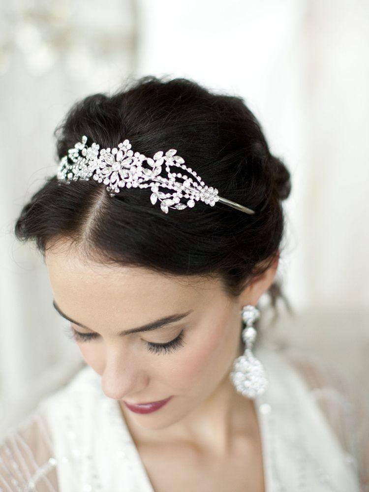 Popular Crystal Wedding Headband or Tiara with Vintage Art Deco Floral Design - Mariell Bridal Jewelry & Wedding Accessories