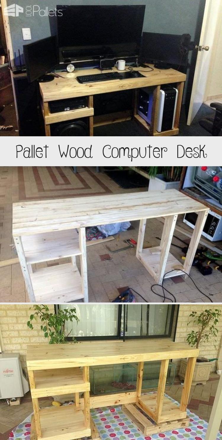 Wood Computer Desk In 2020 Pallet Wood Shelves Wood Computer