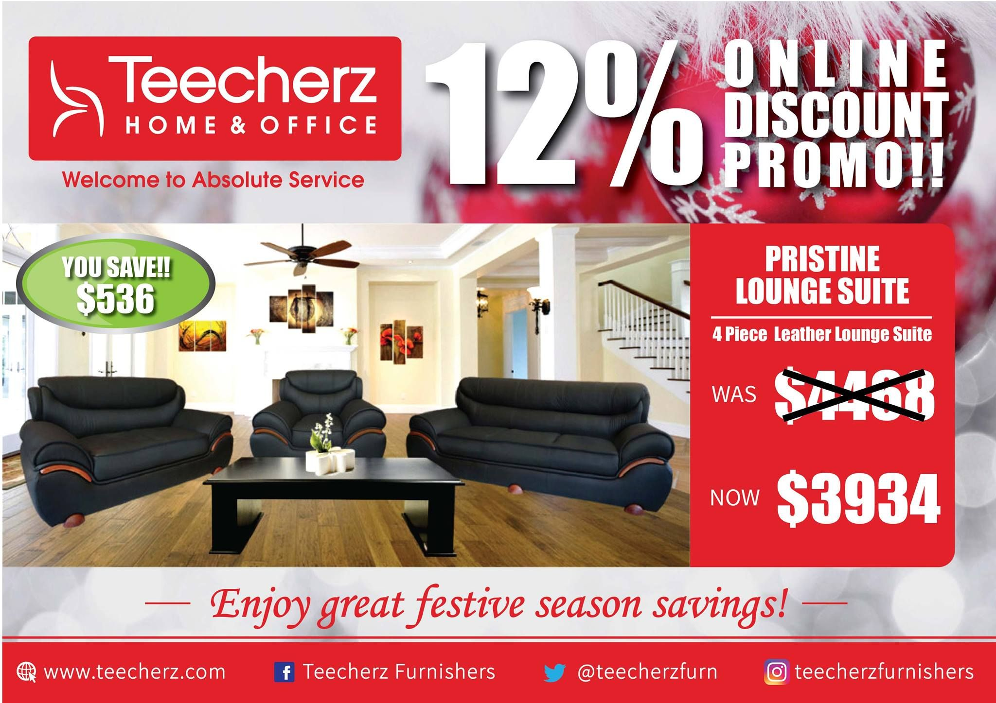 Teecherz Furniture Harare in 4  Leather lounge, Lounge suites