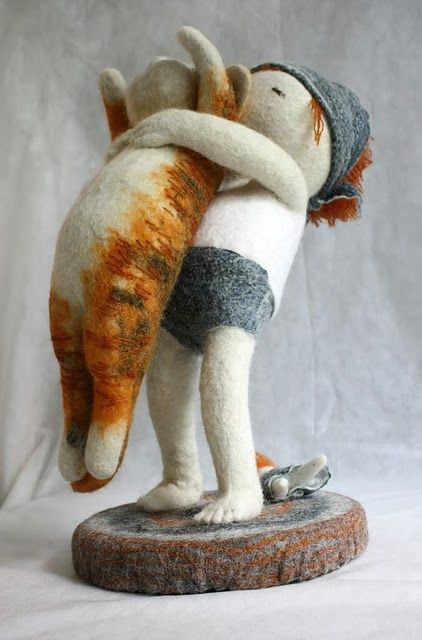 adorable !!*NEEDLE FELT ART ~ sculpture by Irina Andreeva via Kickcan & Conkers