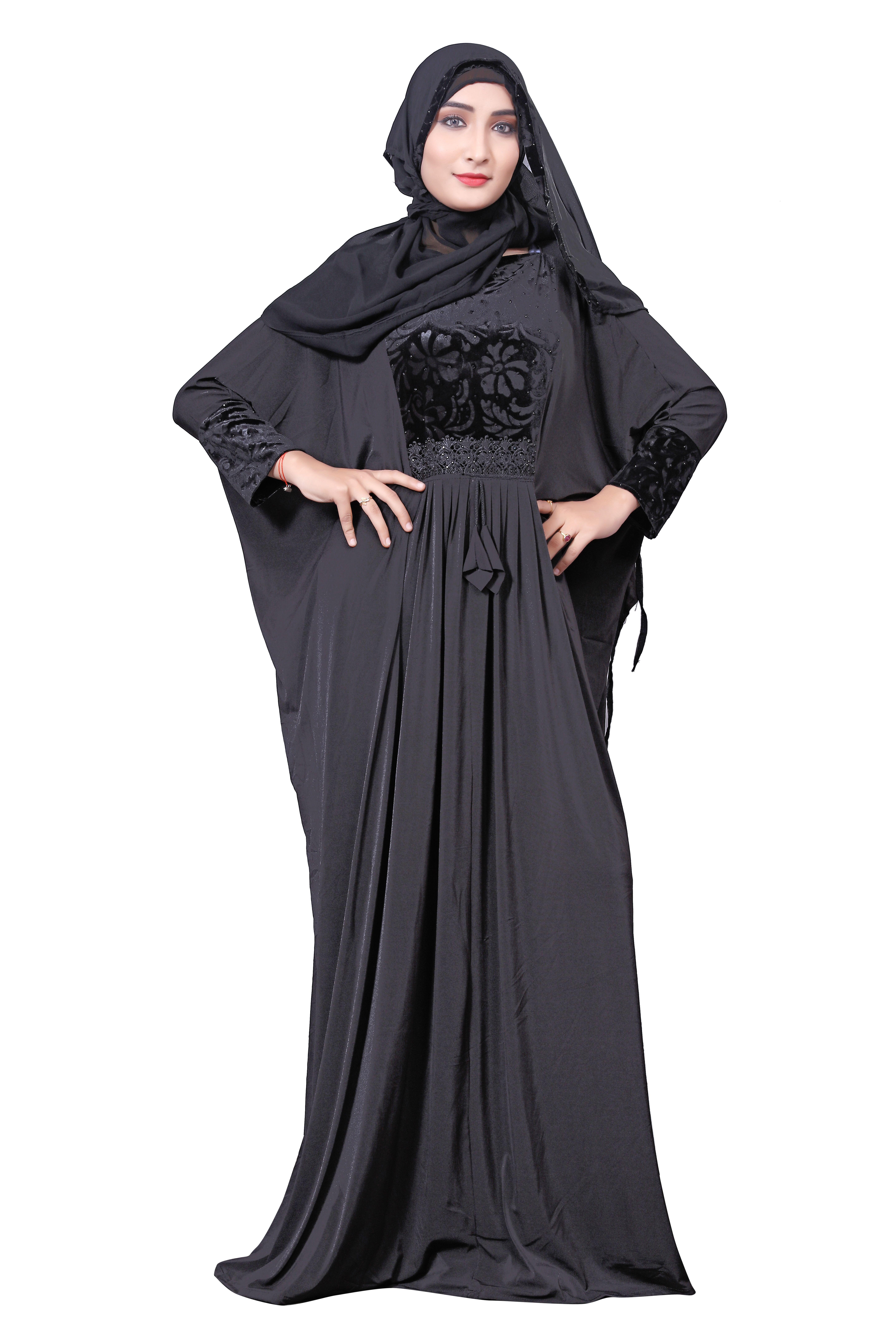 Black color embosed velvet lycra abaya with hijab dupatta