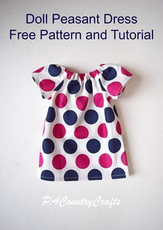 Doll Peasant Dress Pattern and Tutorial #dolldresspatterns