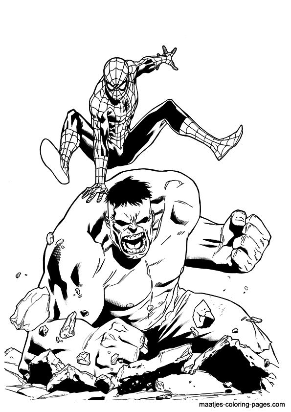 Hulk Spider Man Piggyback Spiderman Coloring Hulk Coloring Pages Coloring Pages