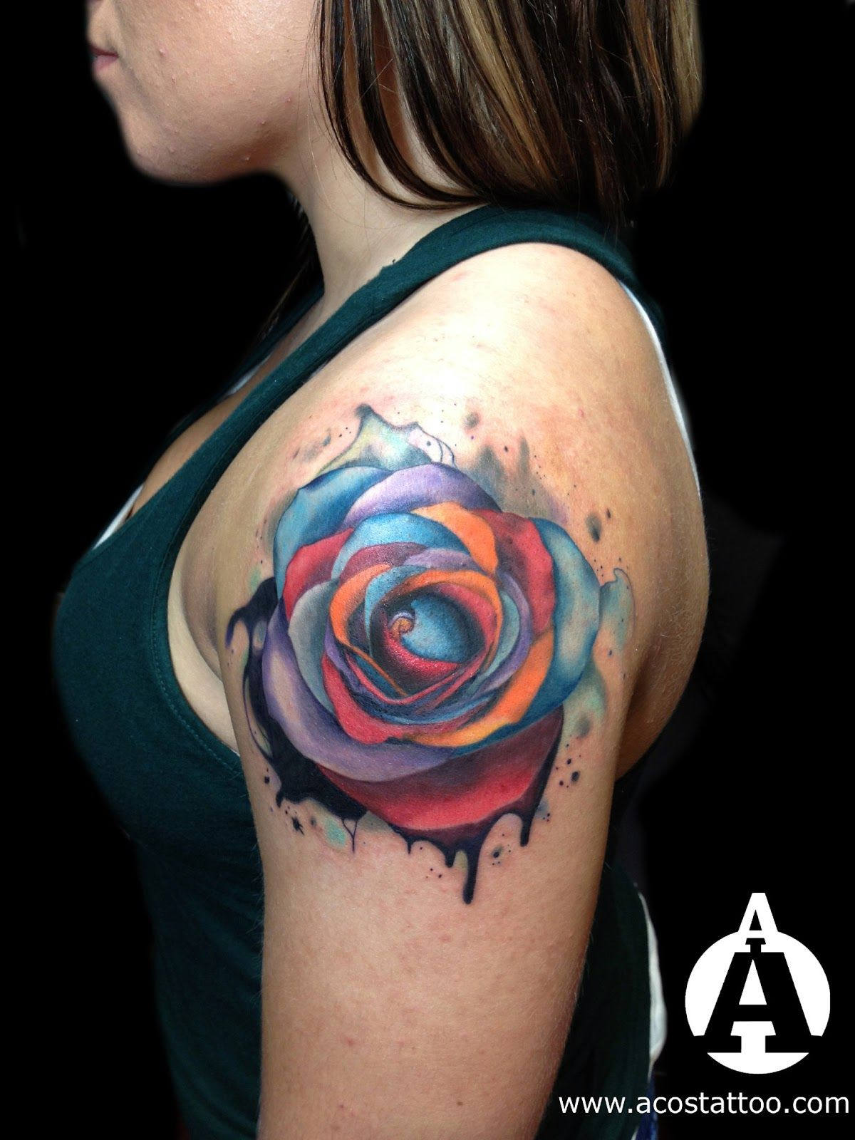 Watercolor tattoo artists in houston texas - Watercolor Rose Tattoo I Love The Colors
