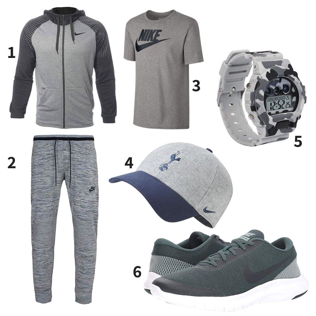 50ade886115e Grey sport outfit combining NIKE Men s Dri-Fit Full Zip Training Hoodie,  NIKE Men s Tech Knit Jogger Pants, Nike Futura Icon T-Shirt, Nike 2018-2019  ...