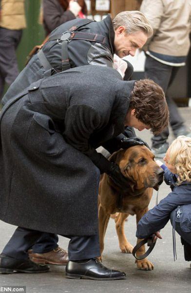 On set Sherlock season 4. Sherlock, John, Mary and baby girl Watson!
