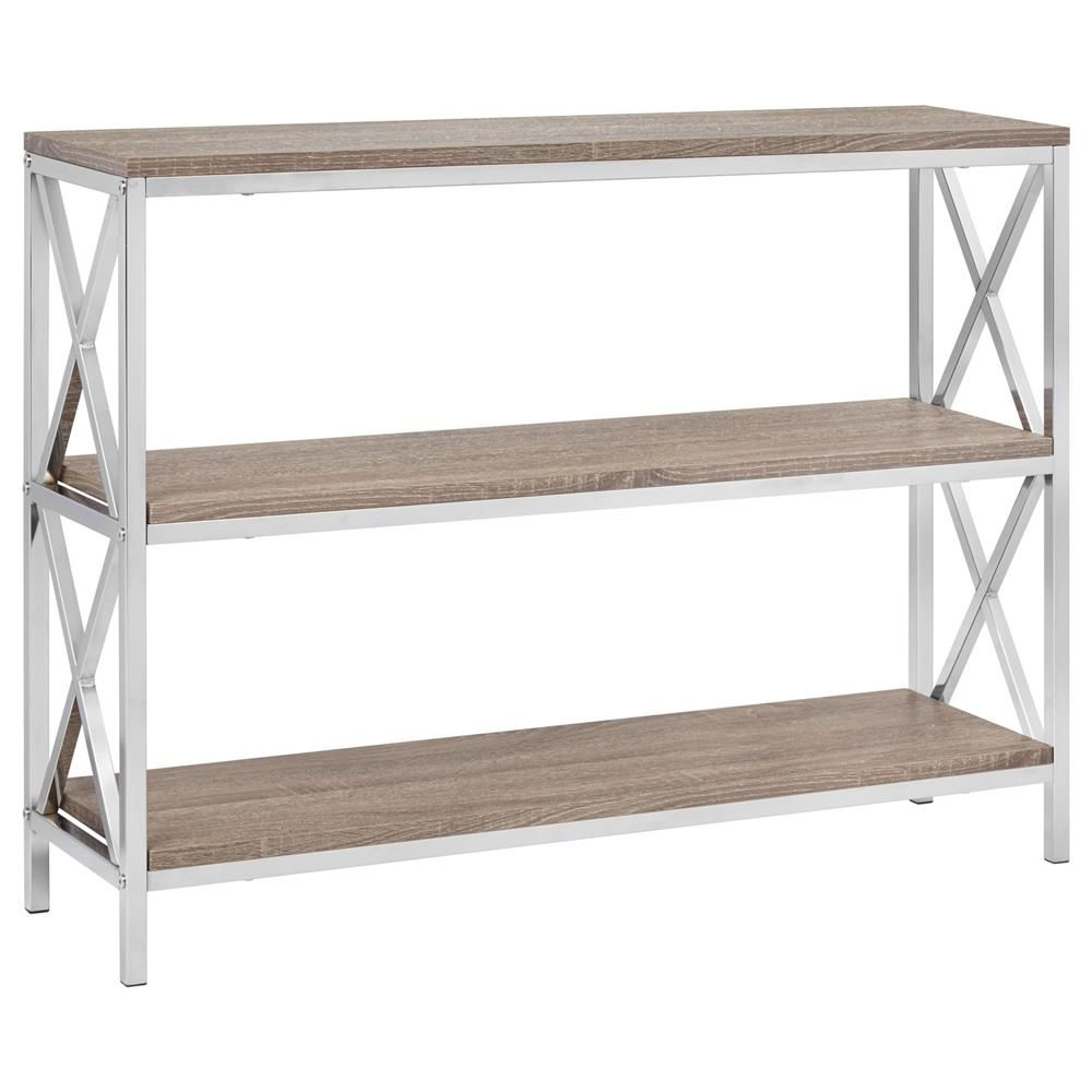 Three shelf wooden console table with metal base consoles dining room furniturebouclair com