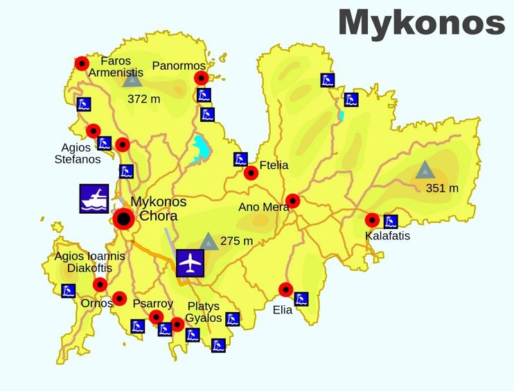 Mykonos beaches map Maps Pinterest Mykonos Greece islands and