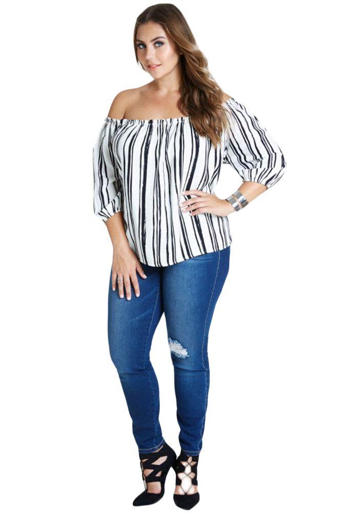bedff9942c7730 Plus Off Shoulder 3/4 Sleeves Stripe Top | Plus Size Tops | Tops ...