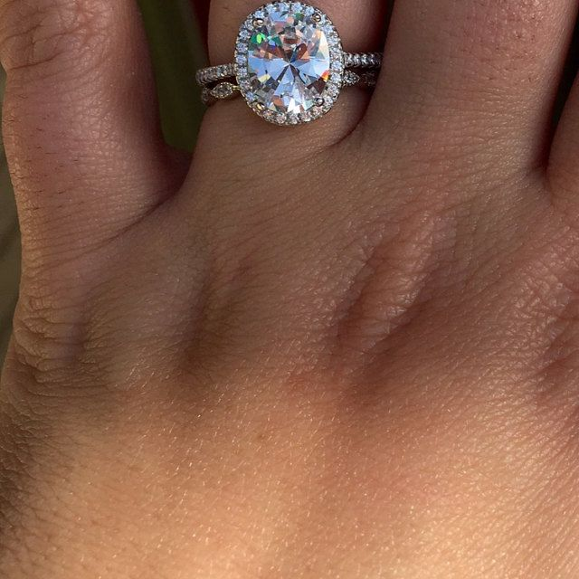 I absolute love my ring! The owner is super sweet !! Thank you so Much ❤️❤️❤️ - 3.25 ctw oval halo ring from TigerGems.com.
