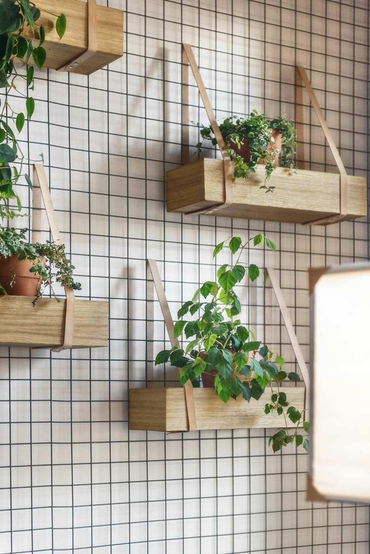 Jardin vertical faire soi m me en bois et en lani res de cuir une excellente id e pour - Jardin vertical interieur ...