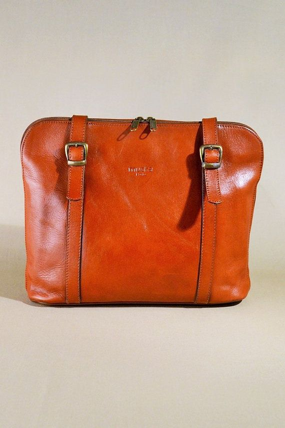 Vintage Brown Leather Muska Paris Tote Bag By Allvintagebags
