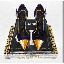 'Italian Shoes and Glam Books' Graphic Art on Wrapped Canvas
