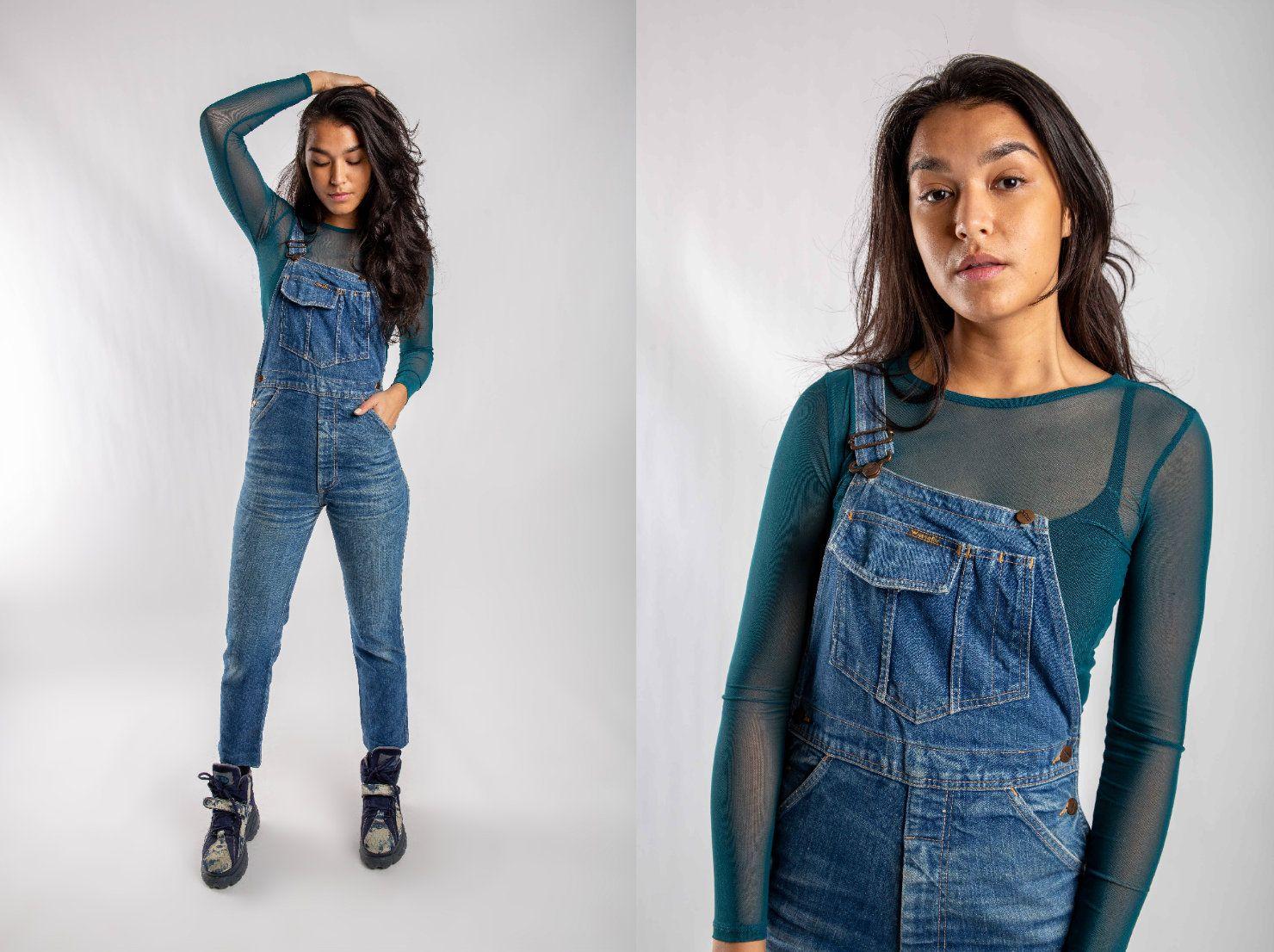Women S Wrangler Denim Dungarees 90s Skinny Jeans Etsy Denim Dungarees Denim Women Denim Jacket Women