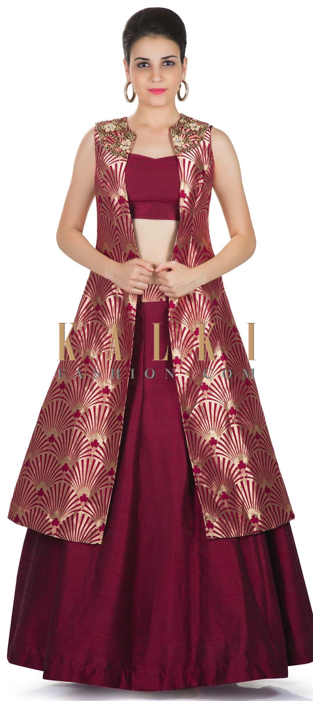 7dea0781e Maroon Skirt and Blouse Styled with Banarasi Brocade Jacket Featuring Moti  Embroidered Butti only on Kalki