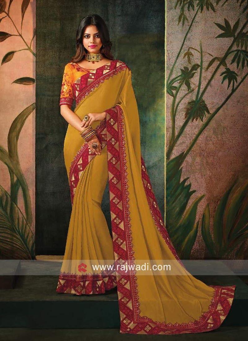 d46a1bc30d0111 Plain Art Silk Sari with Contrast Border.  rajwadi  saree  sareeswag   traditional  FeelRoyal  festive  weddingwear