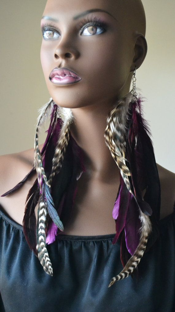 Long Purple and Grizzly Feather Earrings by MarcieRoxx on Etsy, $28.00