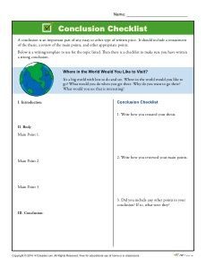 printable template to help students write conclusions students   printable writing a conclusion checklist to help build confidence in your students essay writing