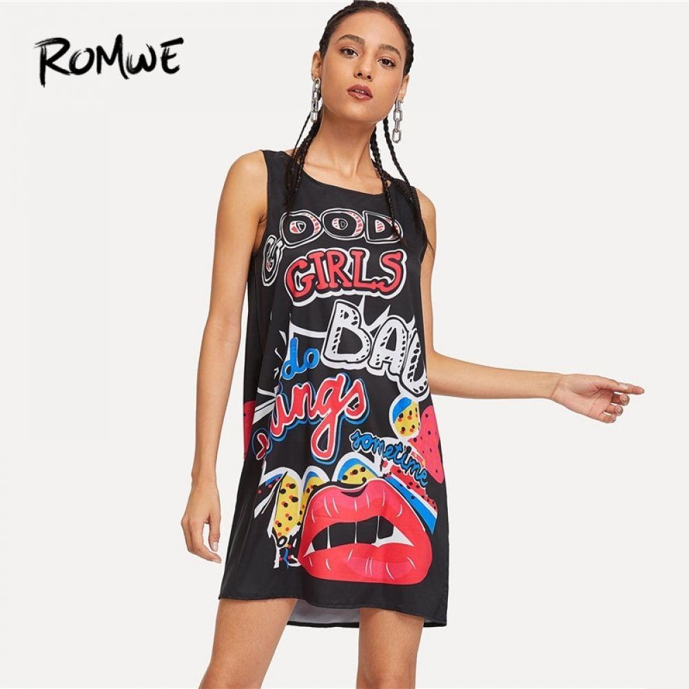 a0bec0c88288 ROMWE estampado Graffiti de vestido negro sin mangas mujer cuello ...