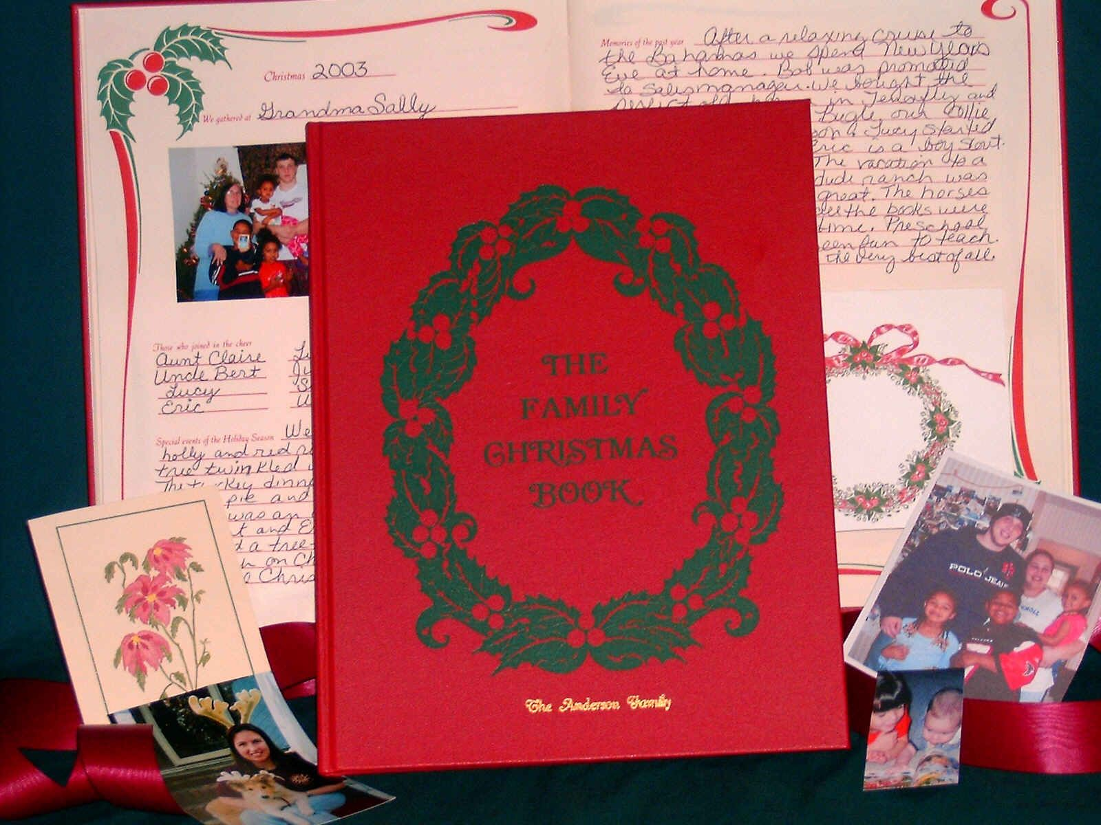 the family christmas book my parents bought this for us the first year we were married it holds 25 years