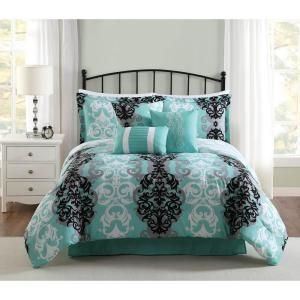 Unbranded Studio 17 Downton Black Grey Aqua 7 Piece Full Queen Comforter Set Ymz006449 The Home Depot Teal Bedding Sets Queen Bedding Sets Comforter Sets