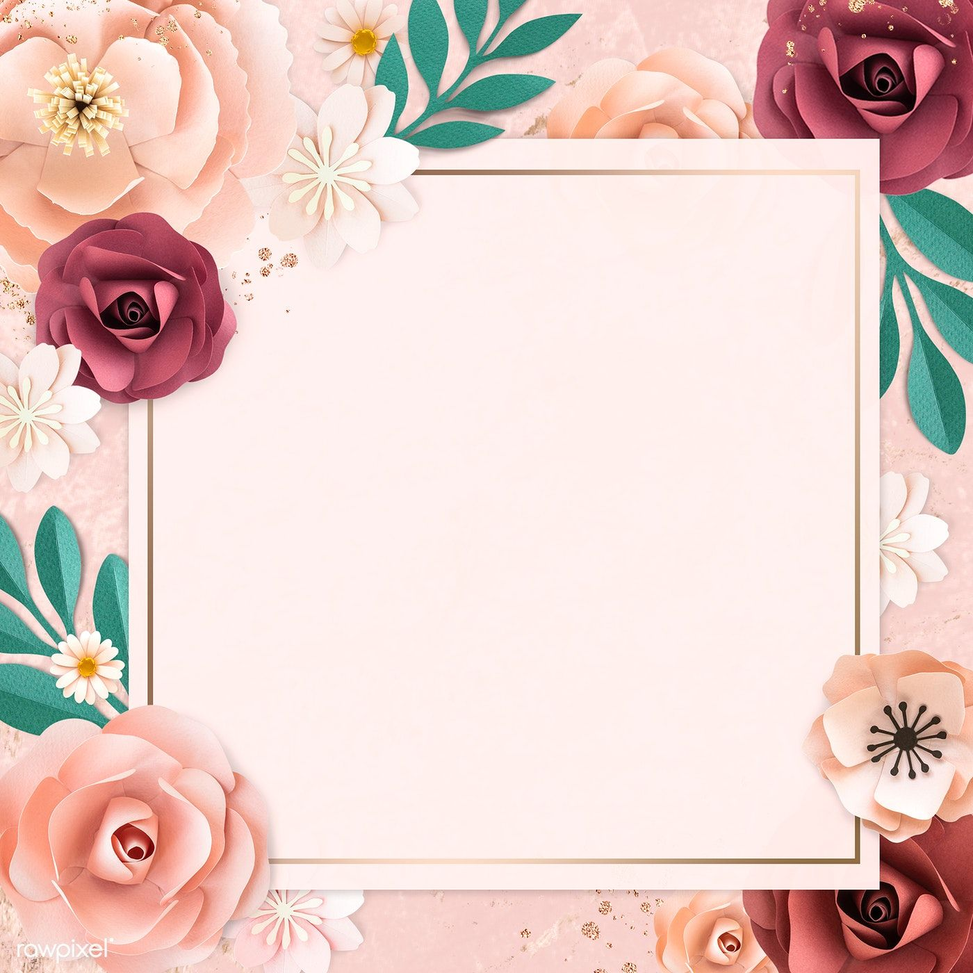 Download Premium Psd Of Square Paper Craft Flower Frame Template Flower Frame Frame Template Flower Background Wallpaper