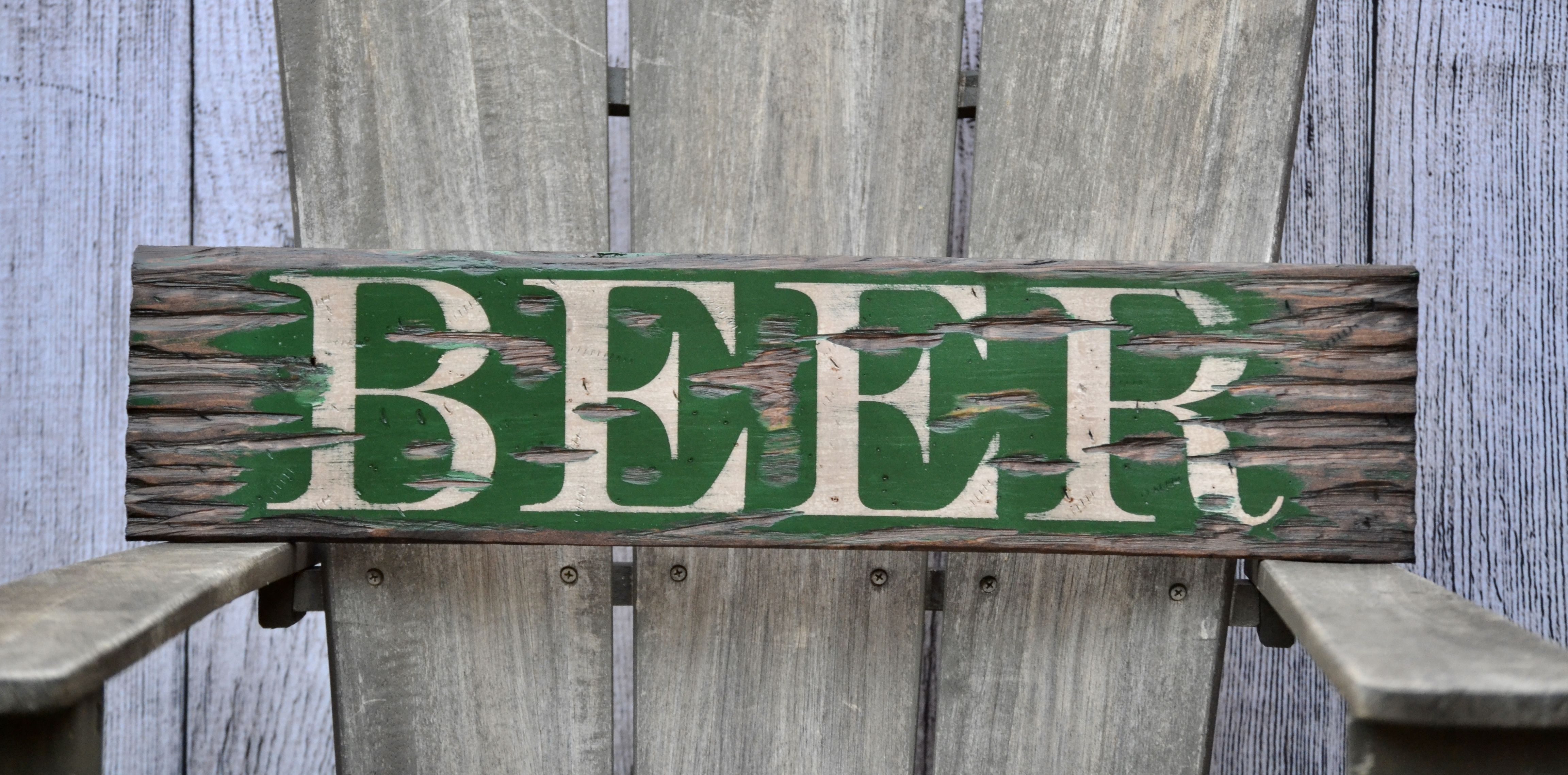 """Barn Signs Decor Beer Distressed Rustic 24"""" Wood Signhome Design Wall Decor Wall"""