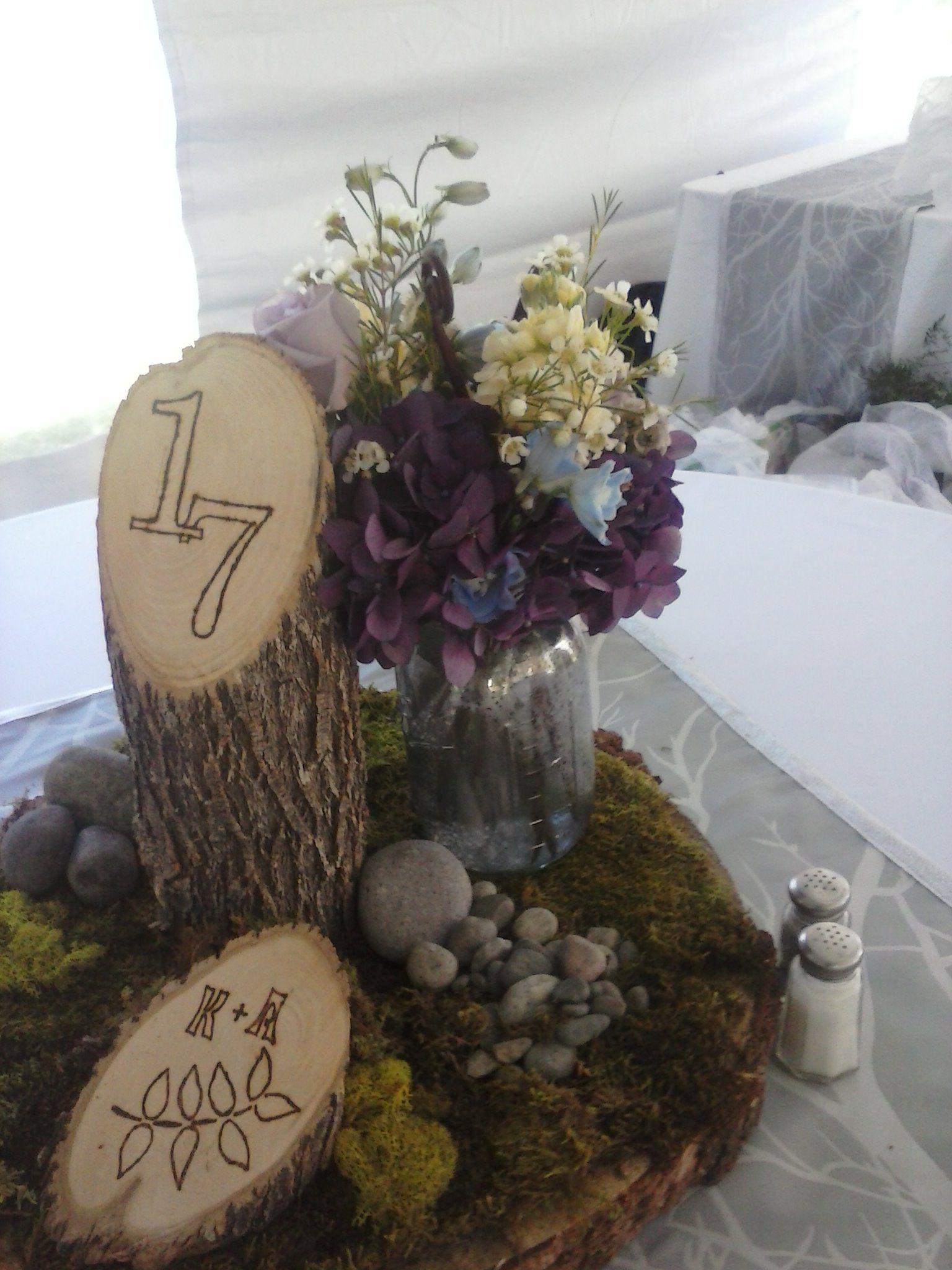 Bon Designed By The Country Florist: Fairy Garden Centerpiece. Wood Stump,  Mason Jar, Moss, Pebbles, Stock, Hydrangea, Wax Flower, And Delphinium.