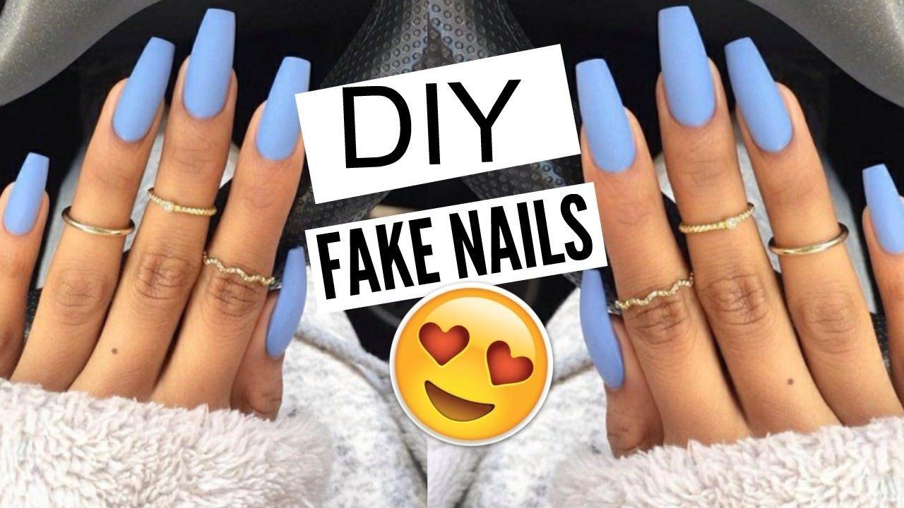 Diy 5 Min Fake Nails At Home No Acrylic Kellie Sweet Youtube Diy Acrylic Nails Fake Acrylic Nails Nails At Home