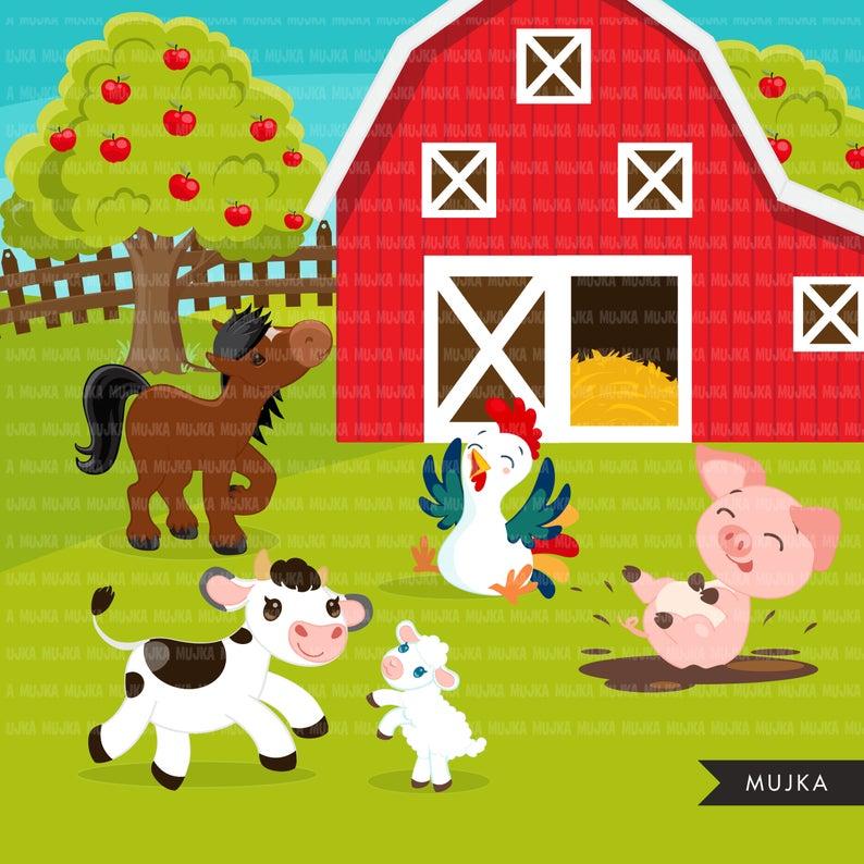 Farm Clipart Farm Animals Farmers Tractor Red Barn Pig Etsy In 2021 Farm Cartoon Horse Clip Art Clip Art
