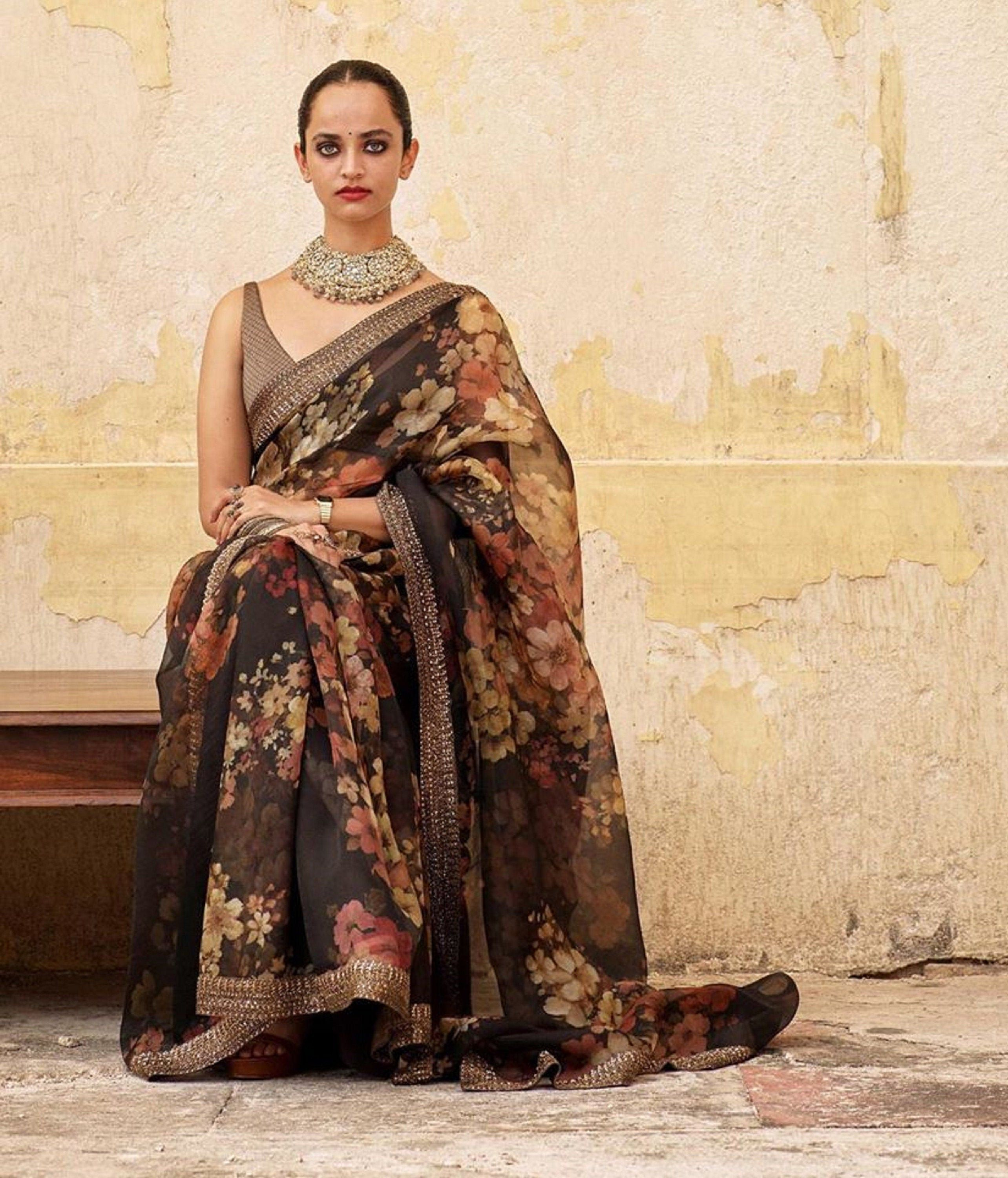 Womens Black Color New Fashion Saree With Stitched Blouse Beautiful Looking Saree Fancy Floral Printed Saree Ex In 2020 New Fashion Saree Sabyasachi Saree Collection