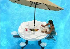 Floating Bar Table Awesome Idea Pool Decor Pool Umbrellas