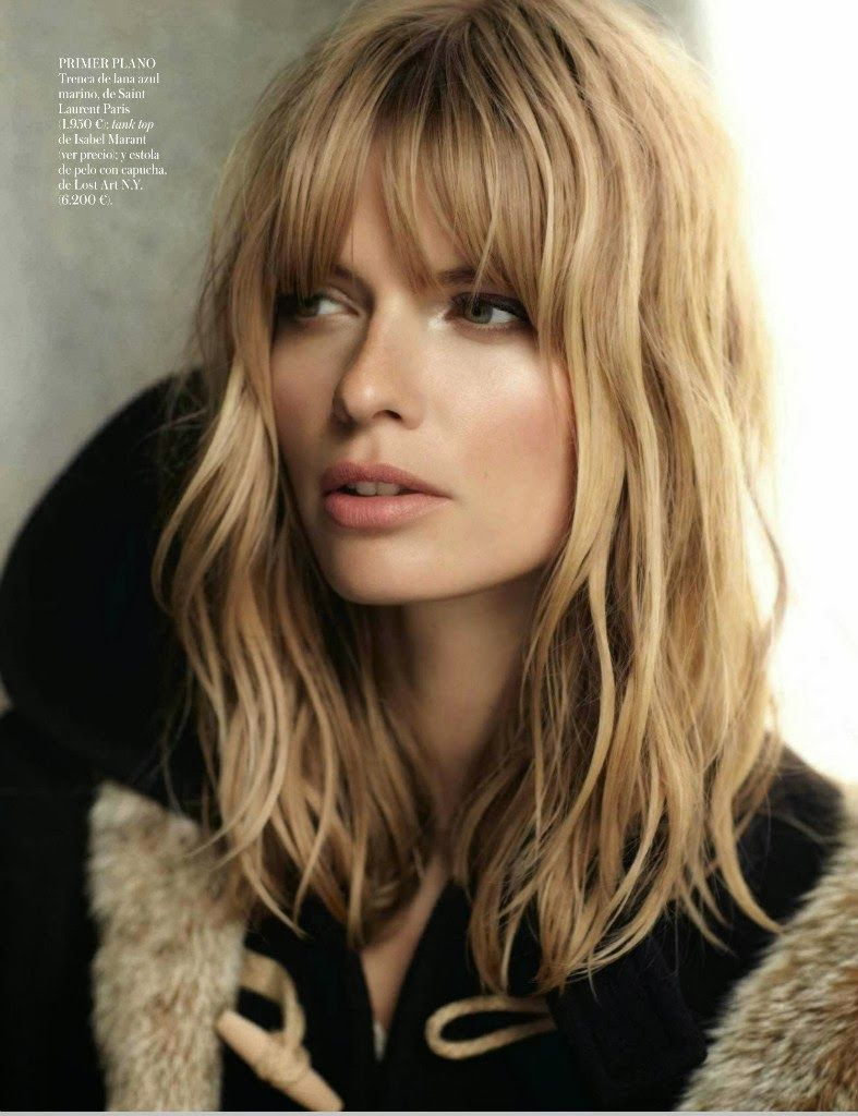 Medium Layered Haircut Wispy Bangs Light Inward Curl Brown Hair Color Hair Styles Hairstyle Long Hair Styles