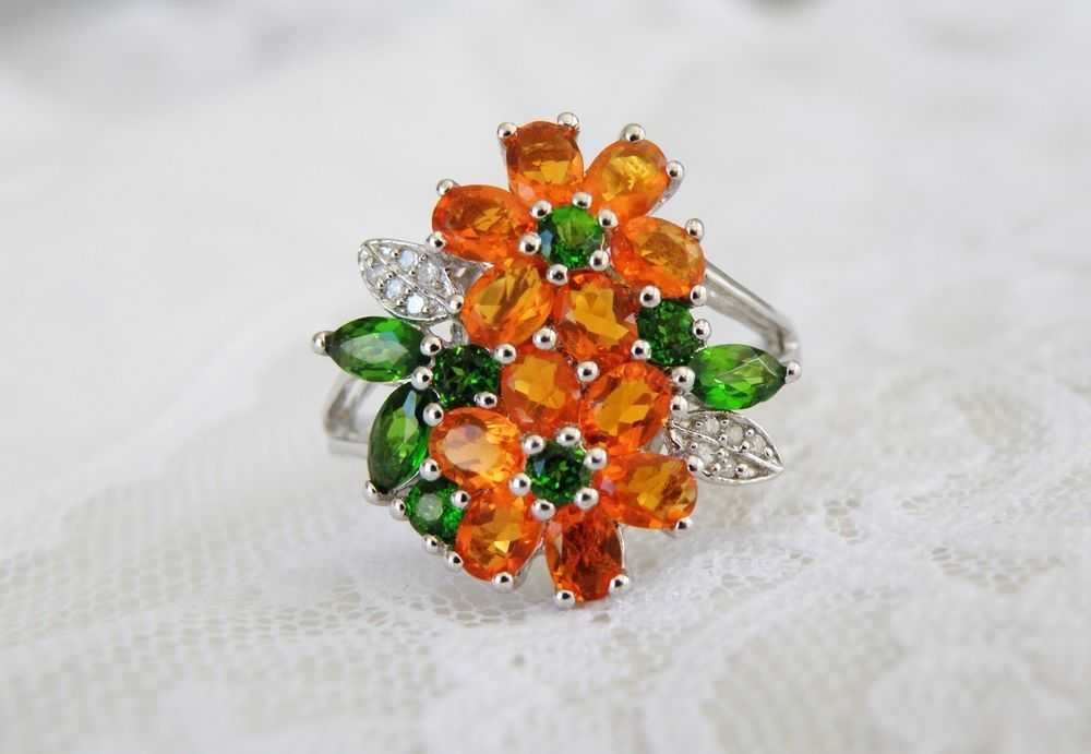 dc1dbe655 Sterling Silver Mexican Orange Fire Opal Chrome Diopside Floral Flower Ring  9 #RossSimons #Cocktail