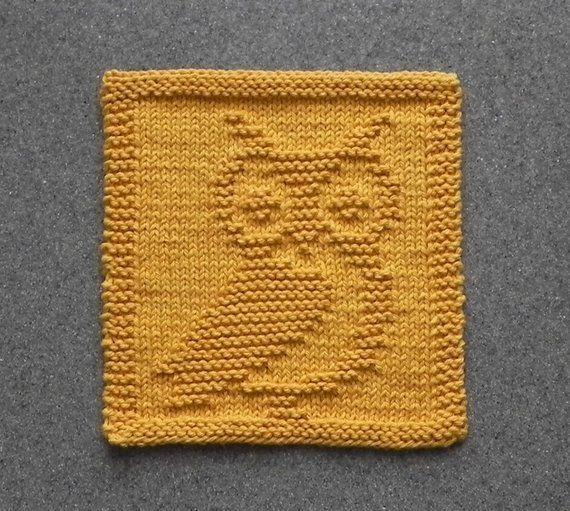 Photo of OWL Knit Dish Cloth, Gold Cotton Face Cloth, Geschenk der Duschhostess, Mountain Lodge …