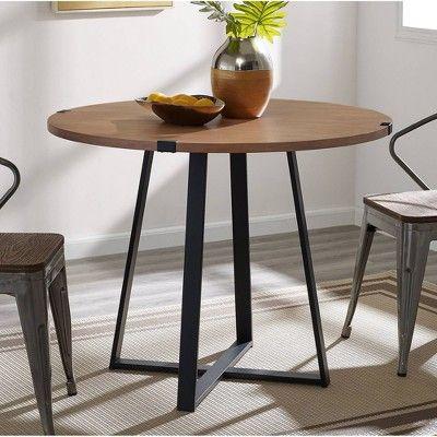 40 Round Dining Table English Oak Black Saracina Home Circle