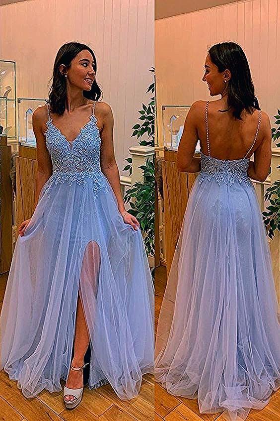 Photo of A-line Light Blue Long Prom Dress  CR 8887