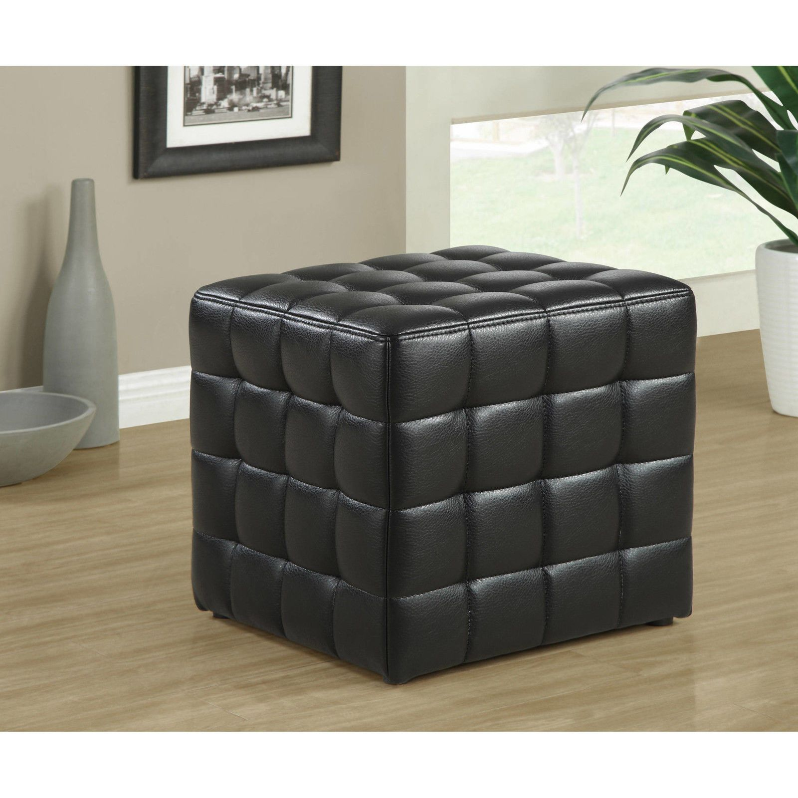 Black Leather Ottoman Chair Tufted Seat Foot Bed Room