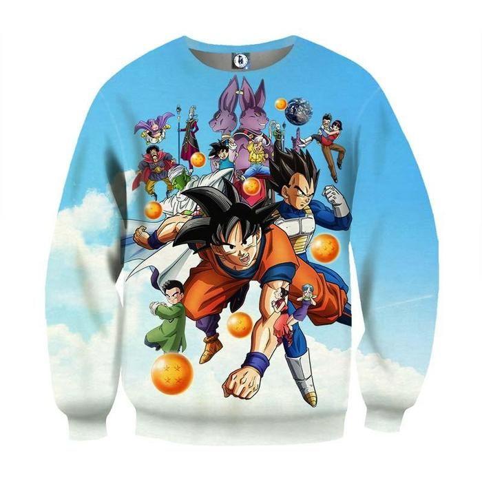 1805627d1e6 DBZ Battle Gods Goku Beerus Blue Sky Background Theme Sweatshirt  sweaters   sweatshirts  dragonball