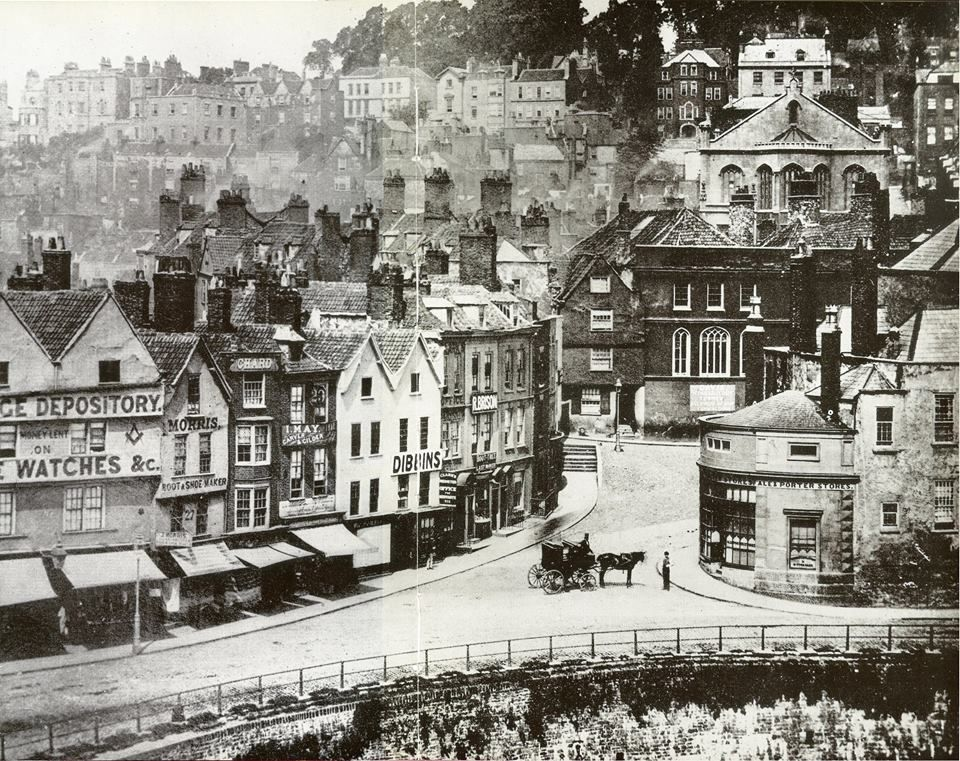 Very early image (1800's) of Bristol showing the bottom of Colston Street and the then still open river Frome