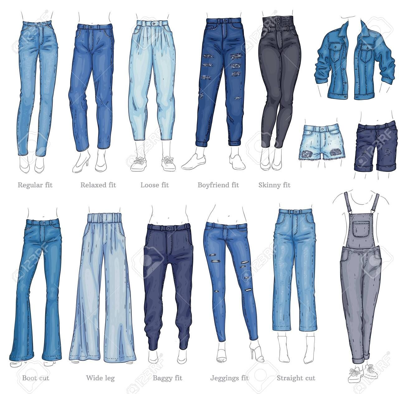 Photo of Vector denim female pants, shorts and jacket sketch icon set. Casual fashion tro …